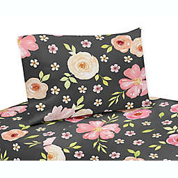 Sweet Jojo Designs® Watercolor Floral 3-Piece Twin Sheet Set in Black/Pink