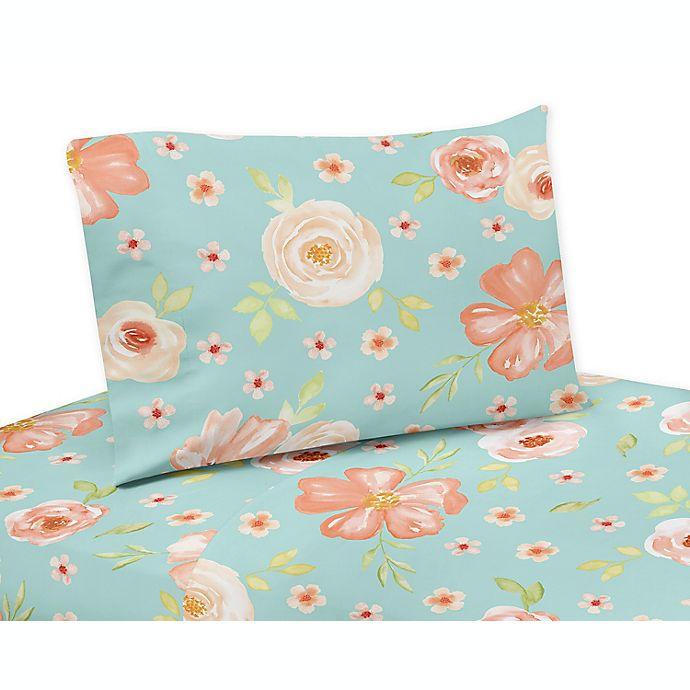 Alternate image 1 for Sweet Jojo Designs® Watercolor Floral Sheet Set