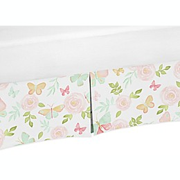 Sweet Jojo Designs Butterfly Floral Bed Skirt in Blush/Green