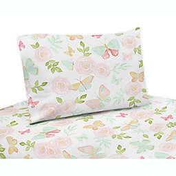 Sweet Jojo Designs Butterfly Floral Twin Sheet Set in Pink/Mint