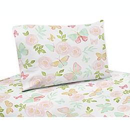 Sweet Jojo Designs Butterfly Queen Sheet Set in Pink/Mint