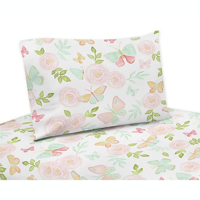 Alternate image 1 for Sweet Jojo Designs Butterfly Floral Sheet Set in Pink/Mint