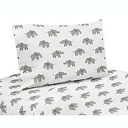 Sweet Jojo Designs® 4-Piece Elephant Queen Sheet Set in Grey/White