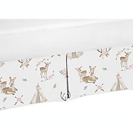 Sweet Jojo Designs® Deer Floral Bed Skirt in Blush Pink/Mint