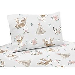 Sweet Jojo Designs® Deer Floral Sheet Set in Blush Pink/Mint