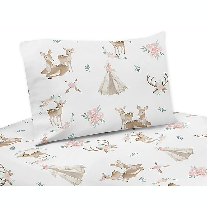Alternate image 1 for Sweet Jojo Designs® Deer Floral Sheet Set in Blush Pink/Mint