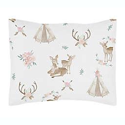 Sweet Jojo Designs® Deer Floral Pillow Sham in Blush Pink/Mint