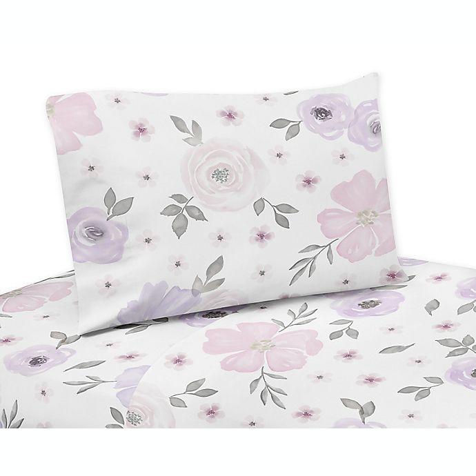 Alternate image 1 for Sweet Jojo Designs® Watercolor Floral Twin Sheet Set in Lavender/Grey