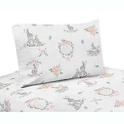 Sweet Jojo Designs Bunny Floral 4-Piece Queen Sheet Set in Pink/Grey