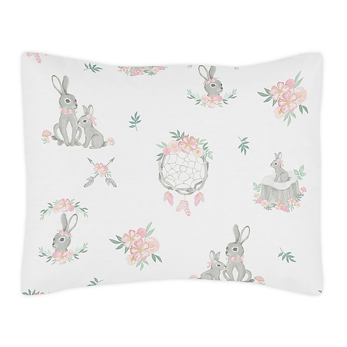 Alternate image 1 for Sweet Jojo Design Bunny Floral Pillow Sham in Pink/Grey
