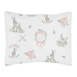 Sweet Jojo Design Bunny Floral Pillow Sham in Pink/Grey