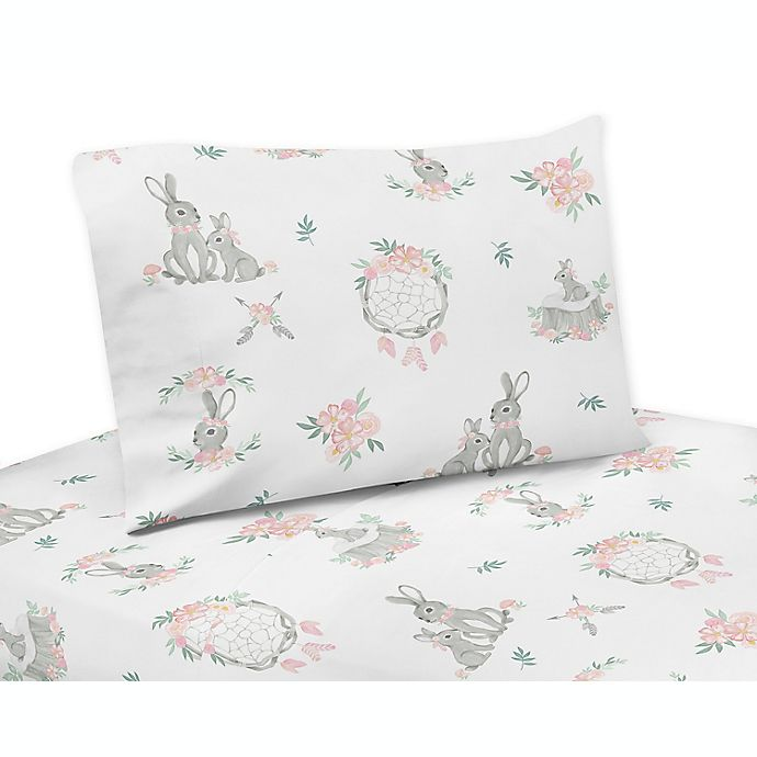 Alternate image 1 for Sweet Jojo Designs Bunny Floral Sheet Set in Pink/Grey