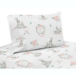 Sweet Jojo Designs Bunny Floral Sheet Set in Pink/Grey