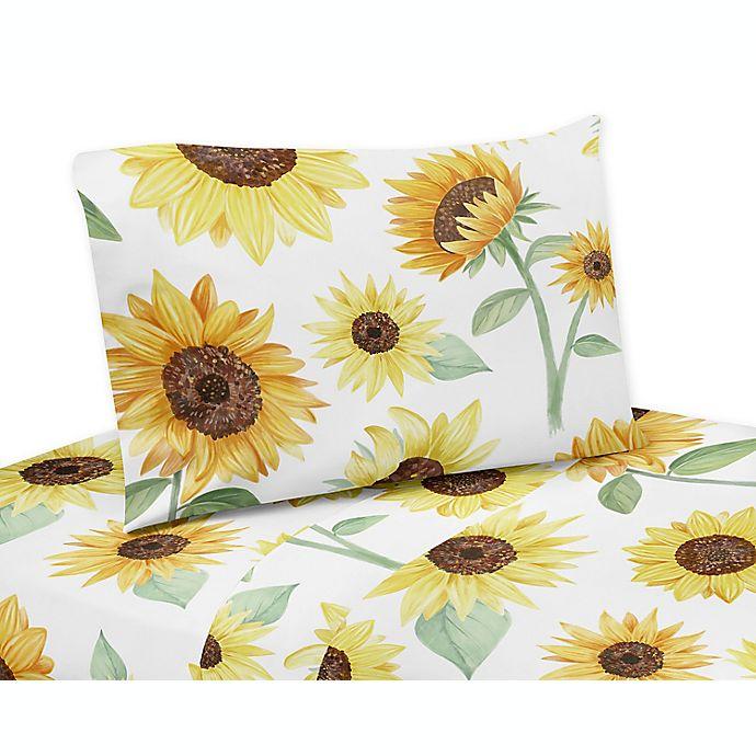 Alternate image 1 for Sweet Jojo Designs® Watercolor Sunflower Sheet Set