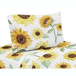 Sweet Jojo Designs® Watercolor Sunflower Twin Sheet Set