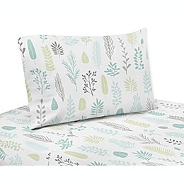 Sweet Jojo Designs Leaf Twin Sheet Set in Aqua