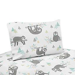 Sweet Jojo Designs Sloth Twin Sheet Set in Aqua/Grey