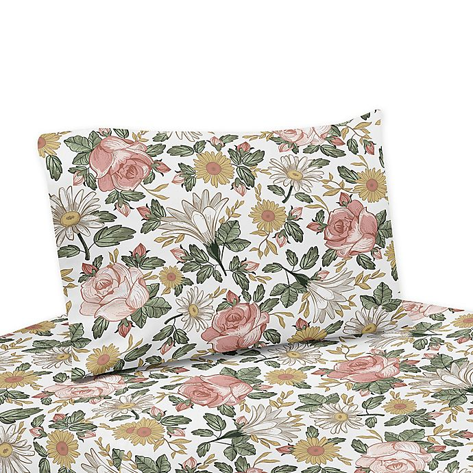 Alternate image 1 for Sweet Jojo Designs Vintage Floral Twin Sheet Set in Pink/Green