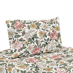 Sweet Jojo Designs Vintage Floral Twin Sheet Set in Pink/Green