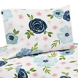 Sweet Jojo Designs® Blue Floral Twin Sheet Set