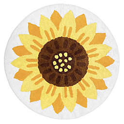 "Sweet Jojo Designs Sunflower 30"" Round Area Rug in Yellow/Orange"
