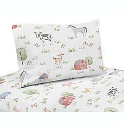 Sweet Jojo Designs Farm Animals Twin Sheet Set in Red/Blue