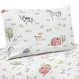 Sweet Jojo Designs Farm Animals Sheet Set in Red/Blue
