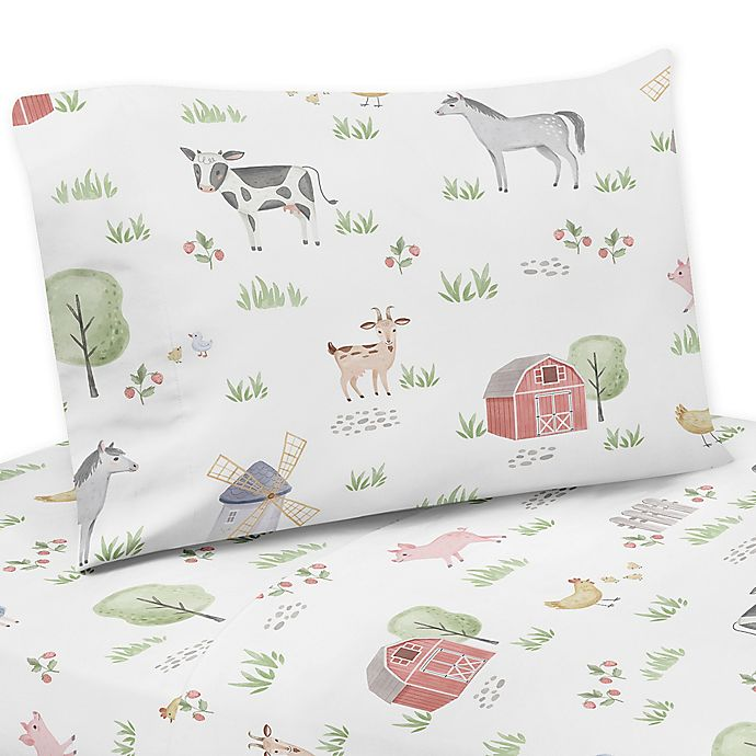 Alternate image 1 for Sweet Jojo Designs Farm Animals Sheet Set in Red/Blue