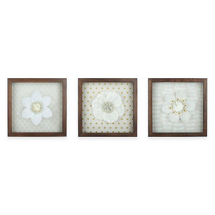 Set Of 3 Framed Crepe Paper Flower Shadow Boxes In White Brown Bed