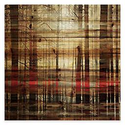 Parvez Taj Sunlight Thru the Trunks 40-Inch Square Pine Wood Wall Art