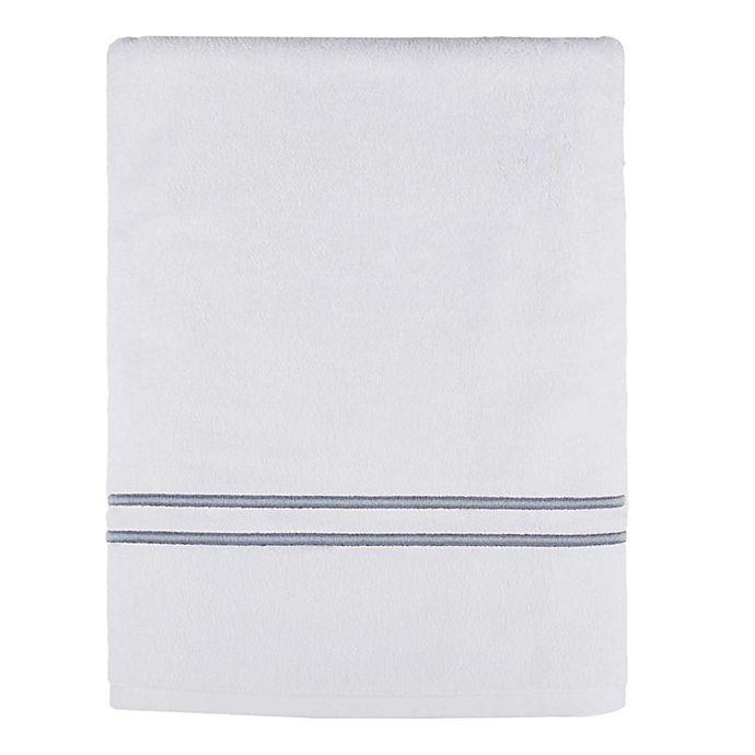 Alternate image 1 for Wamsutta® Classic Baratta Turkish Cotton Embroidered Bath Sheet in White/Charcoal