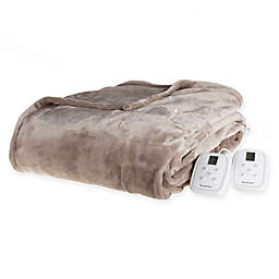 Brookstone® n-a-p® Heated Plush Queen Blanket in Taupe