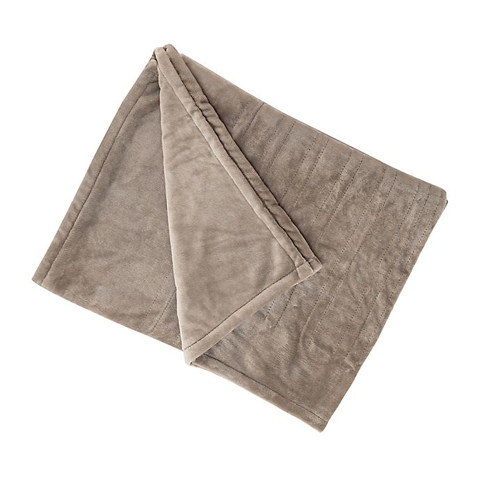 Alternate image 1 for Brookstone® n-a-p® Heated Plush Throw Blanket in Taupe