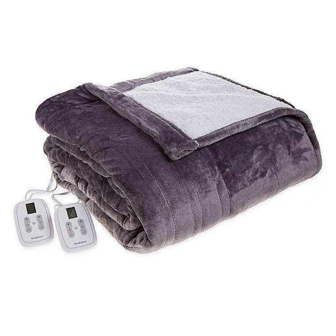 Alternate image 1 for Brookstone® n-a-p® Reversible Sherpa Heated Throw Blanket