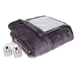 Brookstone® n-a-p® Reversible Sherpa Heated Twin Throw Blanket in Grey