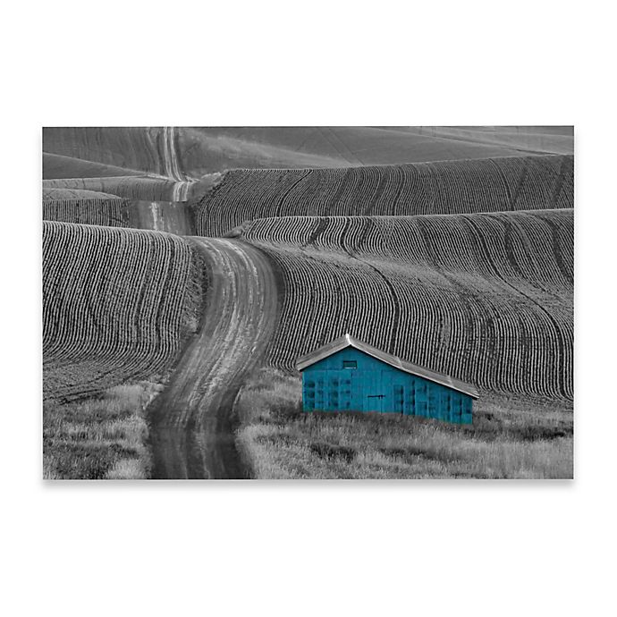 Alternate image 1 for Marmont Hill 30-Inch x 20-Inch Blue Barn on a Country Road Canvas Wall Art