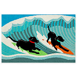 Trans-Ocean Front Porch Surfing Dogs Indoor/Outdoor Accent Rug