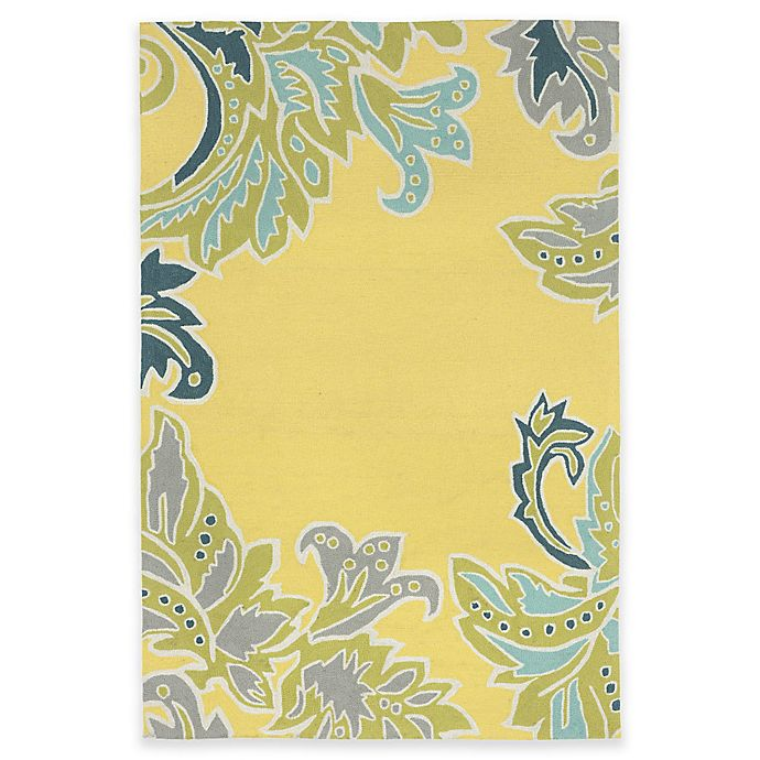 Alternate image 1 for Trans-Ocean Ravella Ornamental Leaf 3-Foot 6-Inch x 5-Foot 6-Inch Indoor/Outdoor Rug in Yellow