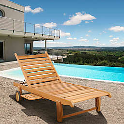 Amazonia Winston Teak Wheel Lounger with Tray