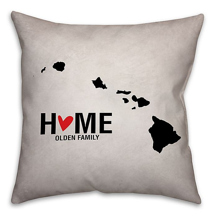 Alternate image 1 for Hawaii State Pride 16-Inch x 16-Inch Square Throw Pillow in Black/White