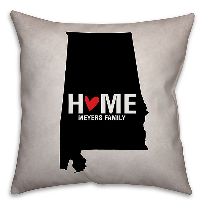 Alternate image 1 for Alabama State Pride Square Throw Pillow in Black/White