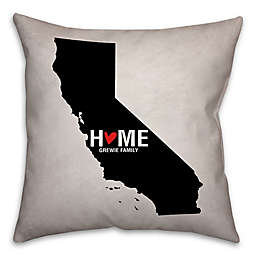 California State Pride Square Throw Pillow in Black/White
