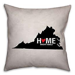 Virginia State Pride Square Throw Pillow in Black/White