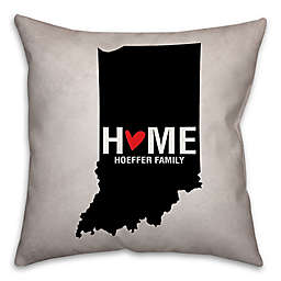 Indiana State Pride Square Throw Pillow in Black/White