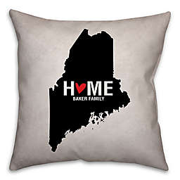 Maine State Pride Square Throw Pillow in Black/White