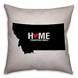 Montana State Pride Square Throw Pillow in Black/White