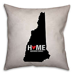 New Hampshire State Pride Square Throw Pillow in Black/White