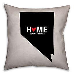 Nevada State Pride Square Throw Pillow in Black/White