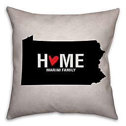 Pennsylvania State Pride Square Throw Pillow in Black/White