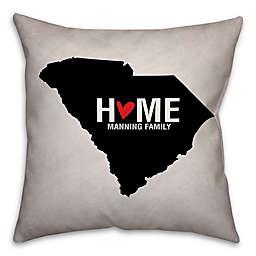South Carolina State Pride Square Throw Pillow in Black/White